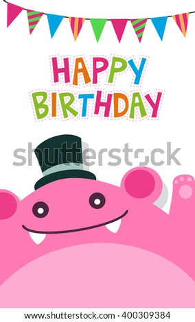 Vector Happy Birthday Card Template Cute Stock Vector