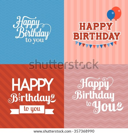 Vector happy birthday card with seamless background - stock vector