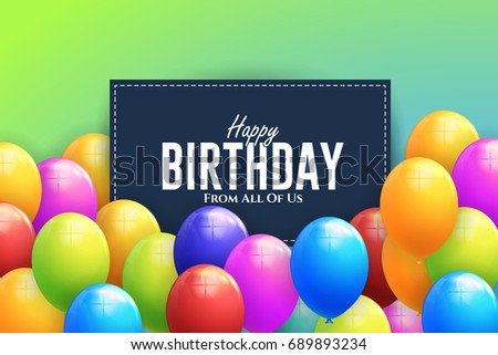 Vector Happy Birthday Concept Multicolored Balloons, Greeting Card Design