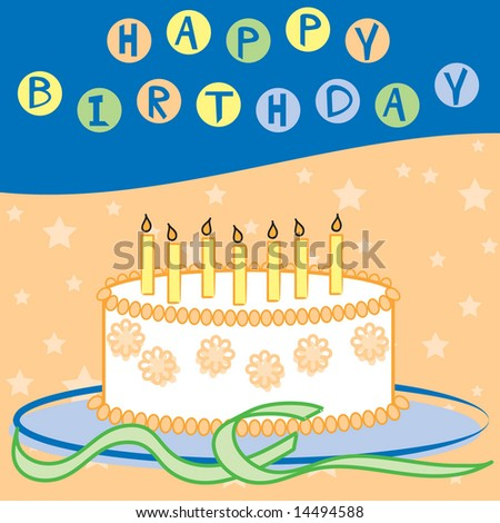 Vector happy birthday design in bright colors with cake, candles, and streamers