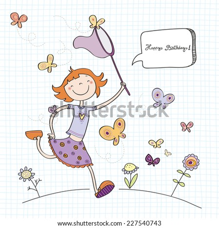 Vector Happy Birthday Fun Greeting Card Girl Wit Butterflies Line Art Drawing Doodle