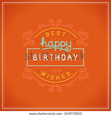 Vector happy birthday greeting card design in linear style with hand lettering