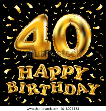 Vector Happy Birthday 40th Celebration Gold Stock Vector ...