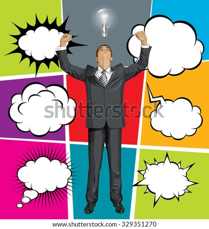 Vector happy business man with hands up, set of comics style speech and thought bubbles