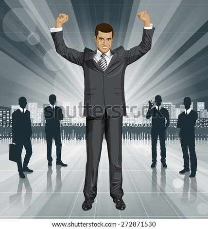 Vector happy businessman with hands up, celebrating his victory - stock vector