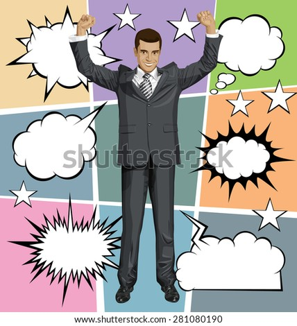Vector happy businessman with hands up, celebrating his victory, with speech and thought bubbles - stock vector