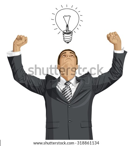 Vector happy businessman with hands up, looking up, looking for idea, celebrating his victory - stock vector