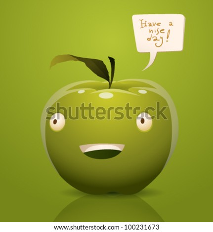 Vector happy cartoon apple