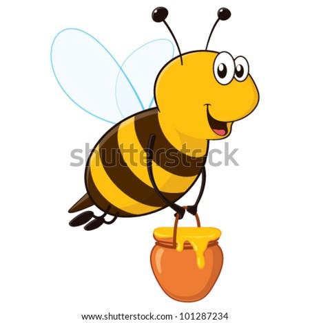 Vector happy cartoon bee flying around with a brimful jar of delicious honey - stock vector