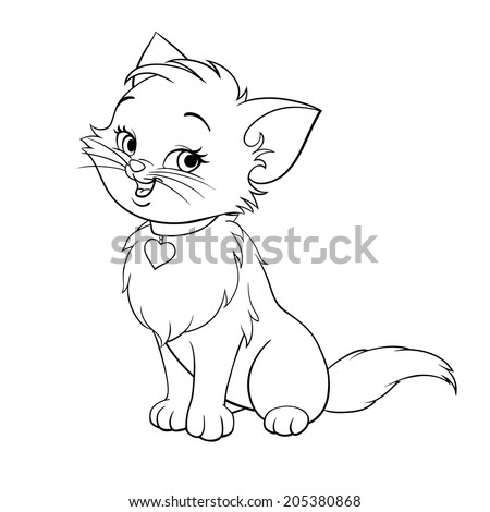 Vector happy cute fun kitten cartoon smiling character cat line art coloring book black and white drawing illustration - stock vector
