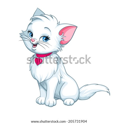 Vector happy cute fun white kitten cartoon smiling character cat with red pink heart illustration isolated on white background - stock vector