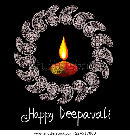 Vector Happy Deepavali diya illustration with paisleys circle. Elegant greeting card for festival of light celebration in India. Black background. For print, web page design, decoration, invitation. - stock vector