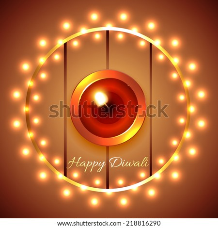 Vector happy diwali diya background - stock vector