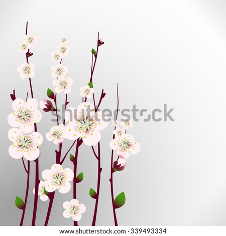 Vector happy easter card, wedding invitation template with an image of spring blossoming apricot  branches with a lot of flowers with blurred gray background