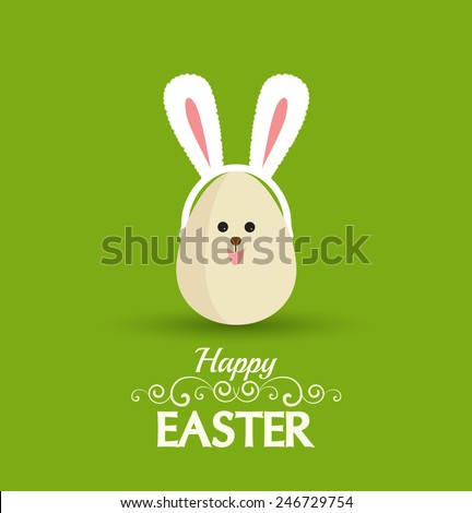 Vector Happy easter eggs with rabbit ears - stock vector