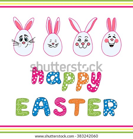 Vector Happy Easter greeting card. Easter background with fun Rabbits and Comic font Happy Easter text. Handmade art. Can be use as element poster, banner, congratulation cards and etc.