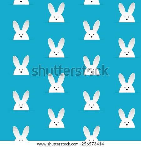 Vector - Happy Easter Rabbit Bunny Blue Seamless Background - stock vector