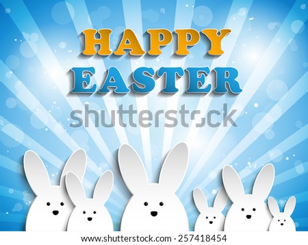Vector - Happy Easter Rabbit Bunny on Blue Background - stock vector