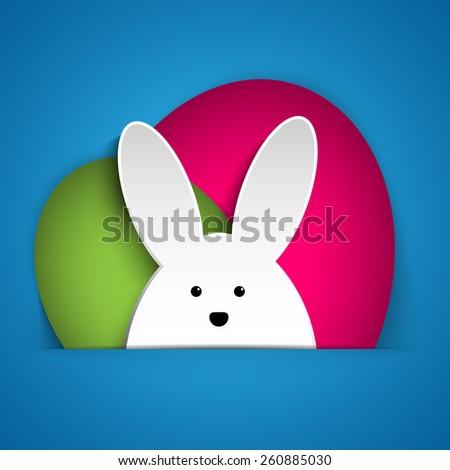 Vector - Happy Easter Rabbit Bunny on Blue Background - stock vector
