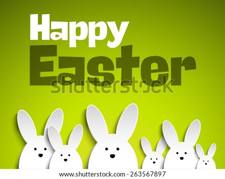 Vector - Happy Easter Rabbit Bunny on Green Background