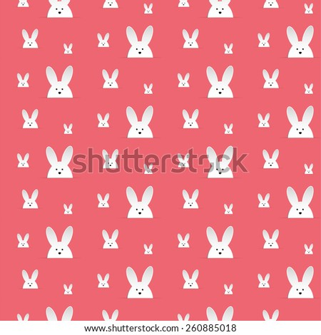 Vector - Happy Easter Rabbit Bunny Pink Seamless Background - stock vector