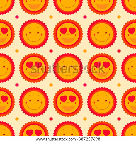 Vector happy emoticons seamless pattern background with suns. Summer fun background, repeating pattern design. Cute sun icons set for baby, kids, children. Vector illustration. Vector pattern design - stock vector