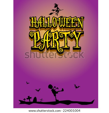vector happy halloween card design template. halloween poster for party or greeting card - stock vector