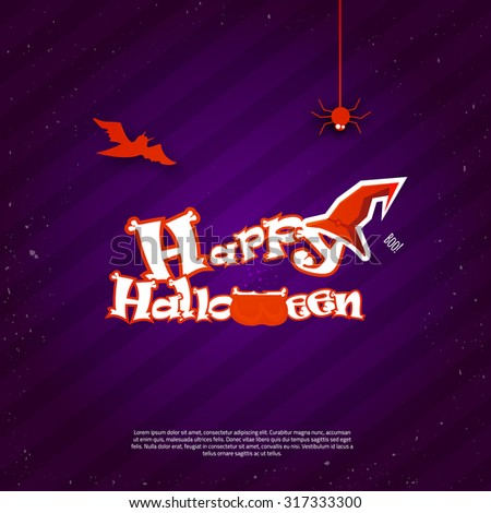 Vector Happy Halloween Poster invitation with letters as bones, hat and bat on dark background. EPS10 - stock vector