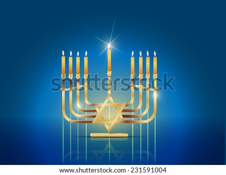 Vector Happy Hanukkah Concept, Gradient Mesh and Transparency Used, Raster Version Available - stock vector