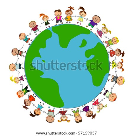 vector happy kids. - stock vector