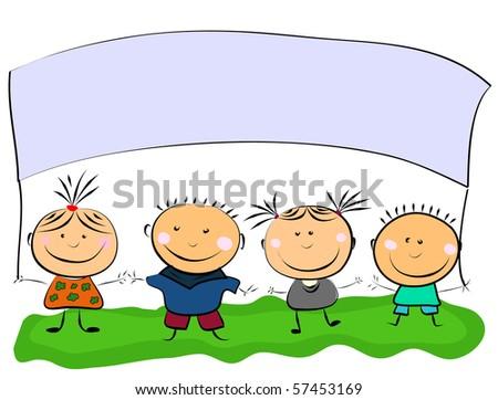 vector happy kids. - stock vector