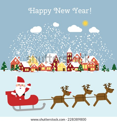 Vector  Happy New Year and Merry Christmas greeting card with Santa and winter landscape. EPS 10 - stock vector