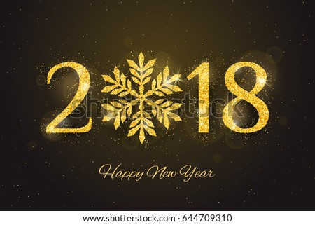 Vector 2018 Happy New Year and Merry Christmas greeting card with sparkling glitter golden textured snowflake. Seasonal holidays background.