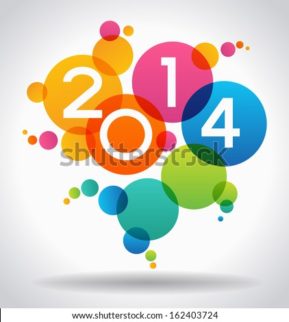 Vector 2014 Happy New Year background.  The file is saved in the version AI10 EPS. This image contains transparency. - stock vector