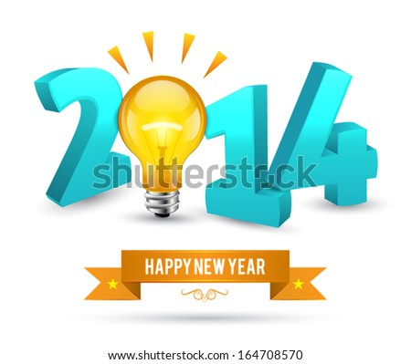 Vector 2014 Happy New Year background with bulb 3D style. - stock vector