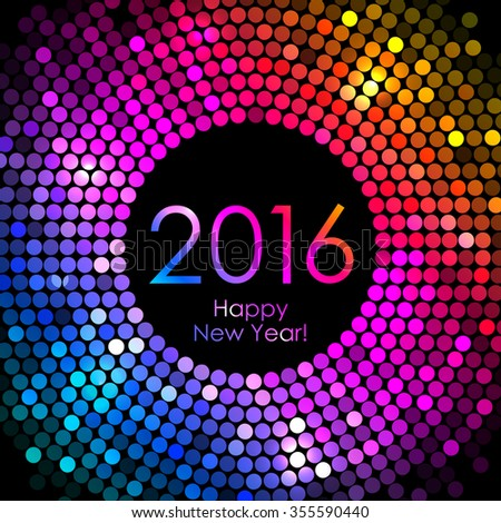 Vector 2016 Happy New Year background with colorful disco lights - stock vector