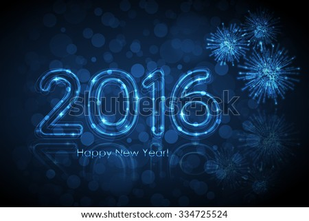Vector Happy New Year 2016 background with glowing numbers