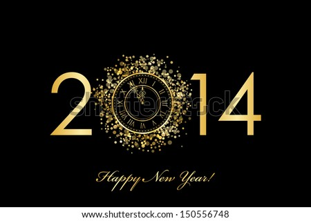 Vector 2014 Happy New Year background with gold clock - stock vector
