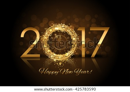Vector 2017 Happy New Year background with gold clock - stock vector