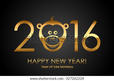 Vector 2016 Happy New Year background with monkey (Year of monkey) - stock vector