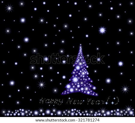 Vector Happy New Year background with snowflakes and Christmas tree in night snowy forest - stock vector