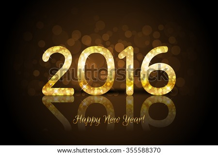 Vector Happy New Year 2016 brown background with shiny gold number - stock vector