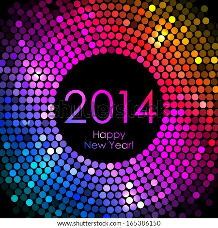 Vector - Happy New Year 2014 - colorful disco lights background - stock vector