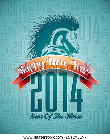 Vector Happy New Year 2014 design with horse and ribbon on typographic background.  EPS 10 illustration.