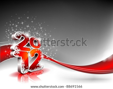 Vector Happy New Year design with shiny 2012 text on a wave background. - stock vector