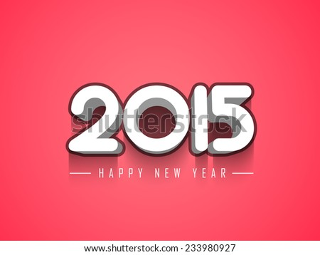 Vector Happy New year 2015 design with Stylish 3d text.