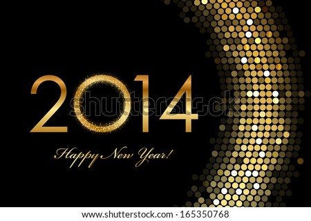 Vector - 2014 Happy New Year 2014 golden glowing - stock vector