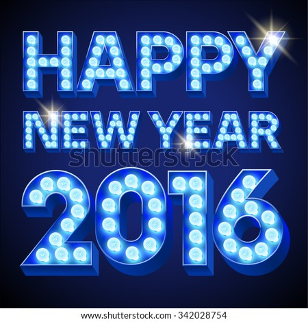 Vector  Happy 2016 new year greeting card with festive text with blue lamp - stock vector
