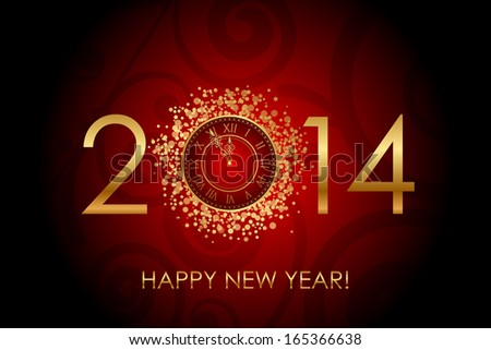Vector Happy New Year red background with shiny gold clock - stock vector