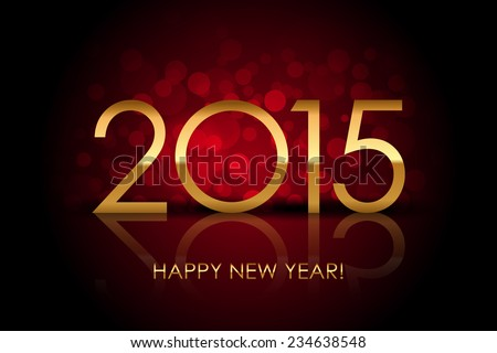 Vector 2015 - Happy New Year red blurred background - stock vector